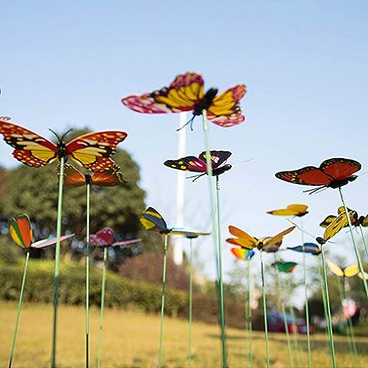Decdeal 24 Piezas de estacas de Mariposas de jardín en Forma de Mariposas de PVC en Palos Vivero en el hogar Cercas al Aire Libre Jardines de césped: Amazon.es: Hogar