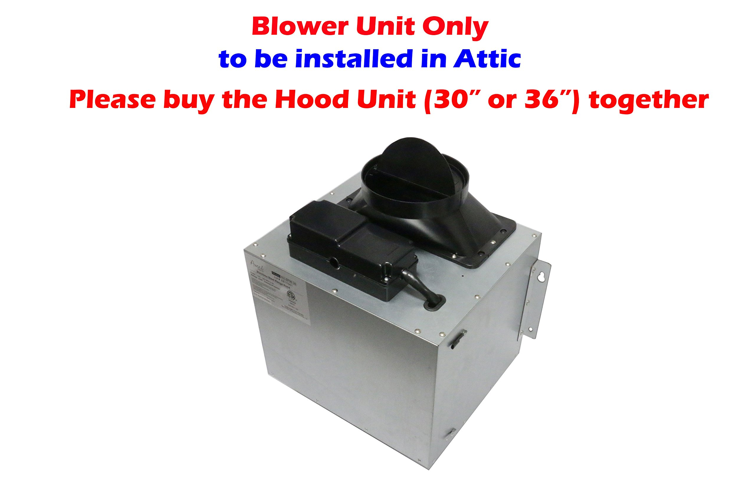 Awoco Split Super Quiet Range Hood Blower Unit Installed in Attic Work with 30'' or 36'' Hood Unit, 4 Speeds 900CFM, 6'' Round Vent In and Out (Blower Unit Only) by Awoco (Image #2)
