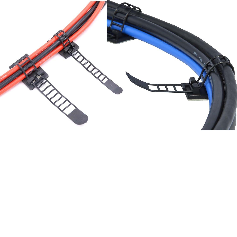 Kabel Clips 100 Stück + Kabelbinder 100 Stück Verstellbare ...