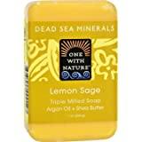 One With Nature Lemon Sage Dead Sea Mineral Soap, 7 Ounce Bar