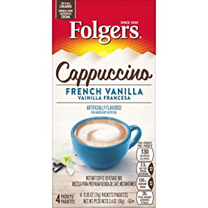Folgers Cappuccino French Vanilla Instant Coffee Beverage Mix, 32 Single Serve Packets