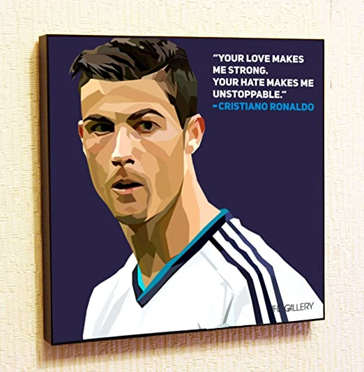 Cristiano Ronaldo 27 Real Madrid Footballer Photo Black and White Quote Poster