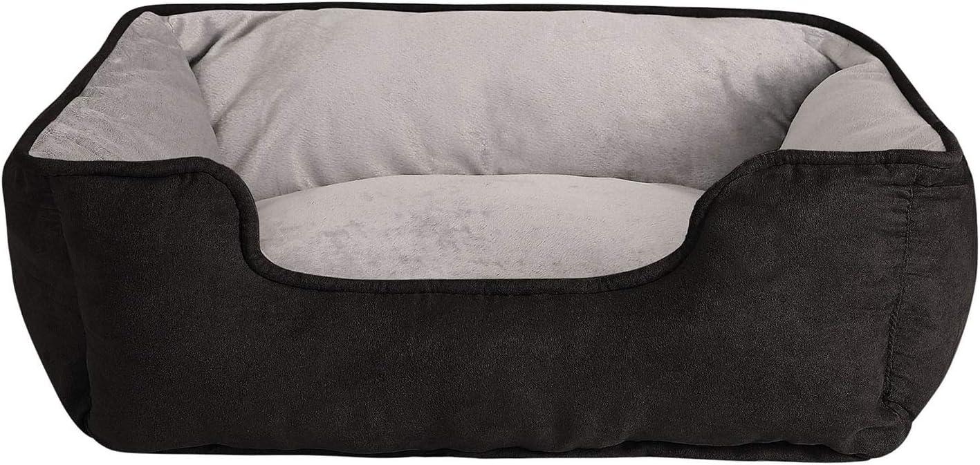 dibea Cama perros 2 en 1 cojín perros sofá perros tamaño (S) 60x50 cm negro/gris