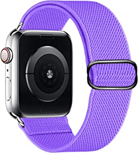 Youther Stretchy Nylon Loop Bands Compatible with Apple Watch 38mm, 40mm, 42mm, 44mm, Adjustable Stretch Braided Sport Elastics Women Men Strap Compatible with iWatch Series 6/5/4/3/2/1 SE