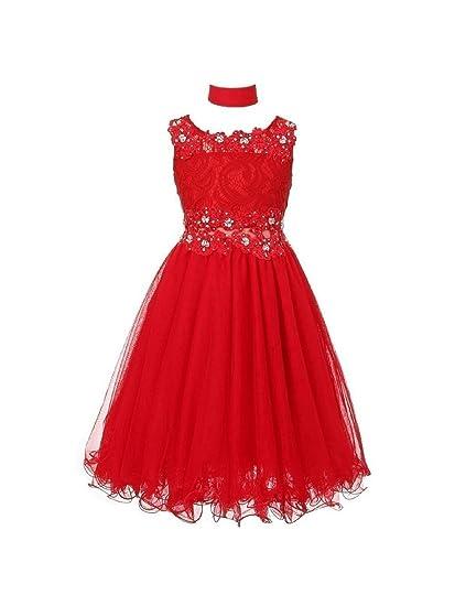 9daf857d2c5 Amazon.com  Big Girls Red Lace Mesh Rhinestone Wired Flower Girl ...