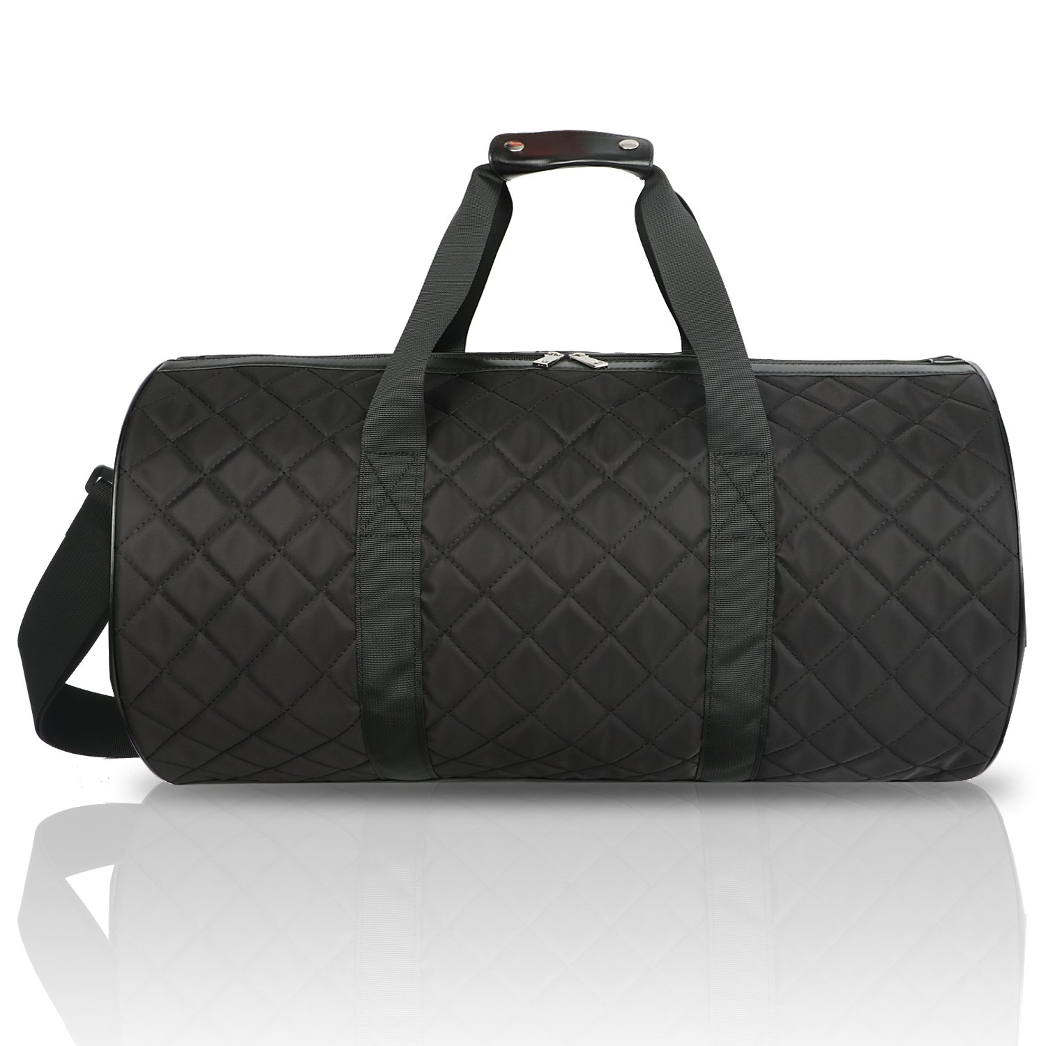 FITMYFAVO 20'' Duffle Yoga Dance Gym Bag Weekender Grid Pattern Overnight Carry On (Black)