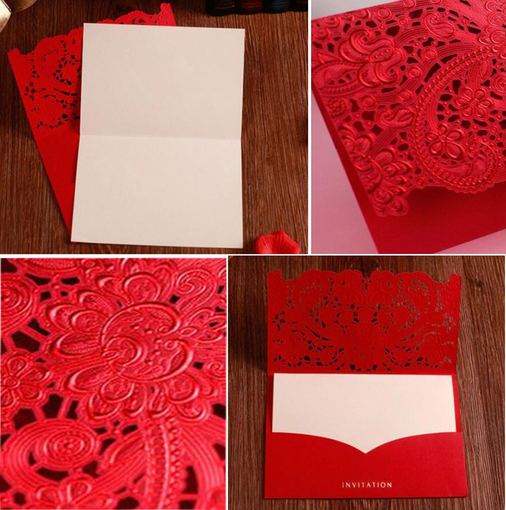 Amazon.com: WOMHOPE 50 Pcs - Elegance Lace Emboss Laser Cut Card ...