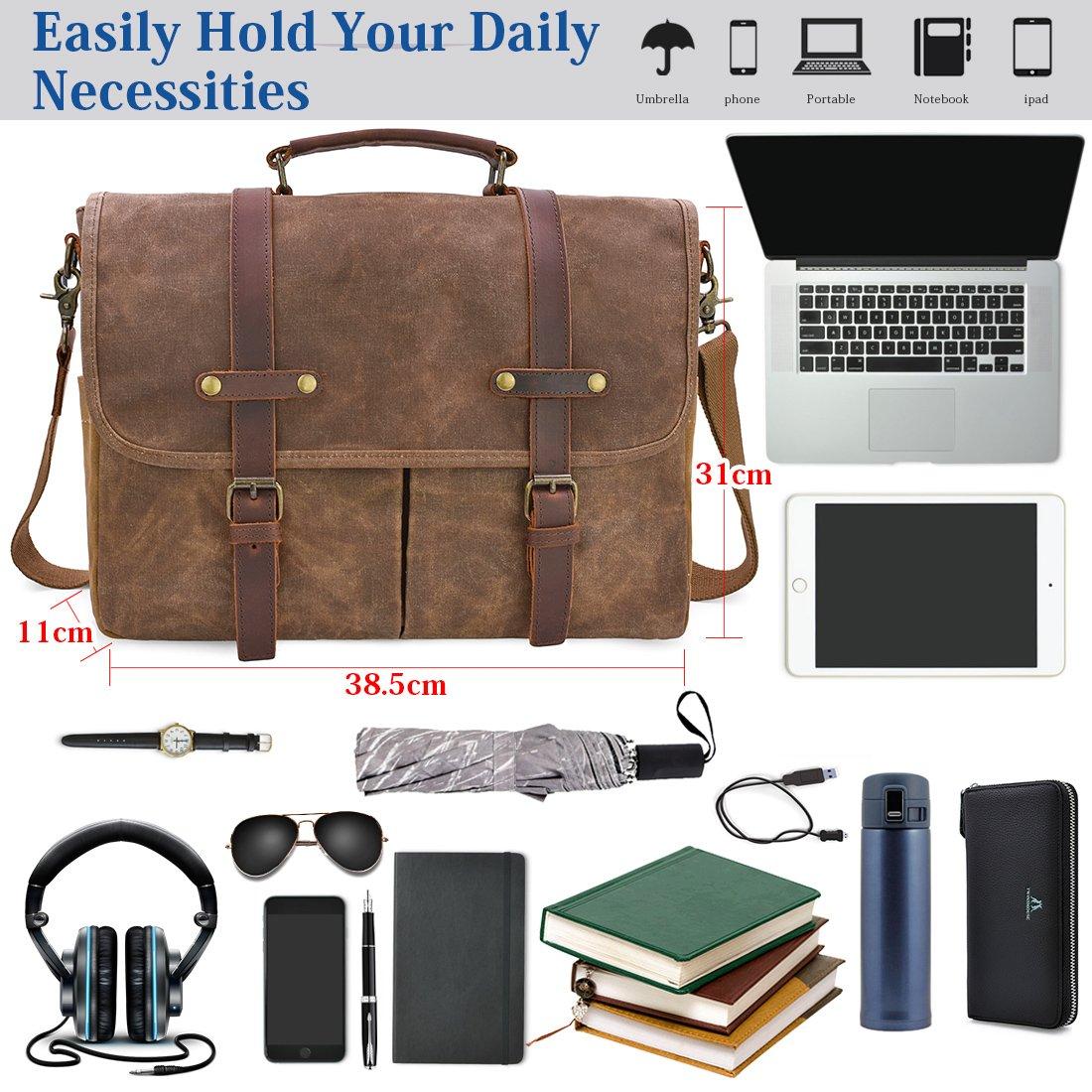 Newhey Mens Laptop Shoulder Canvas Messenger Bag Waterproof Computer  Briefcase Notebook Vintage Satchel Designer School Work Bags Brown 15.6  Leather  ... c0b07a67826e4