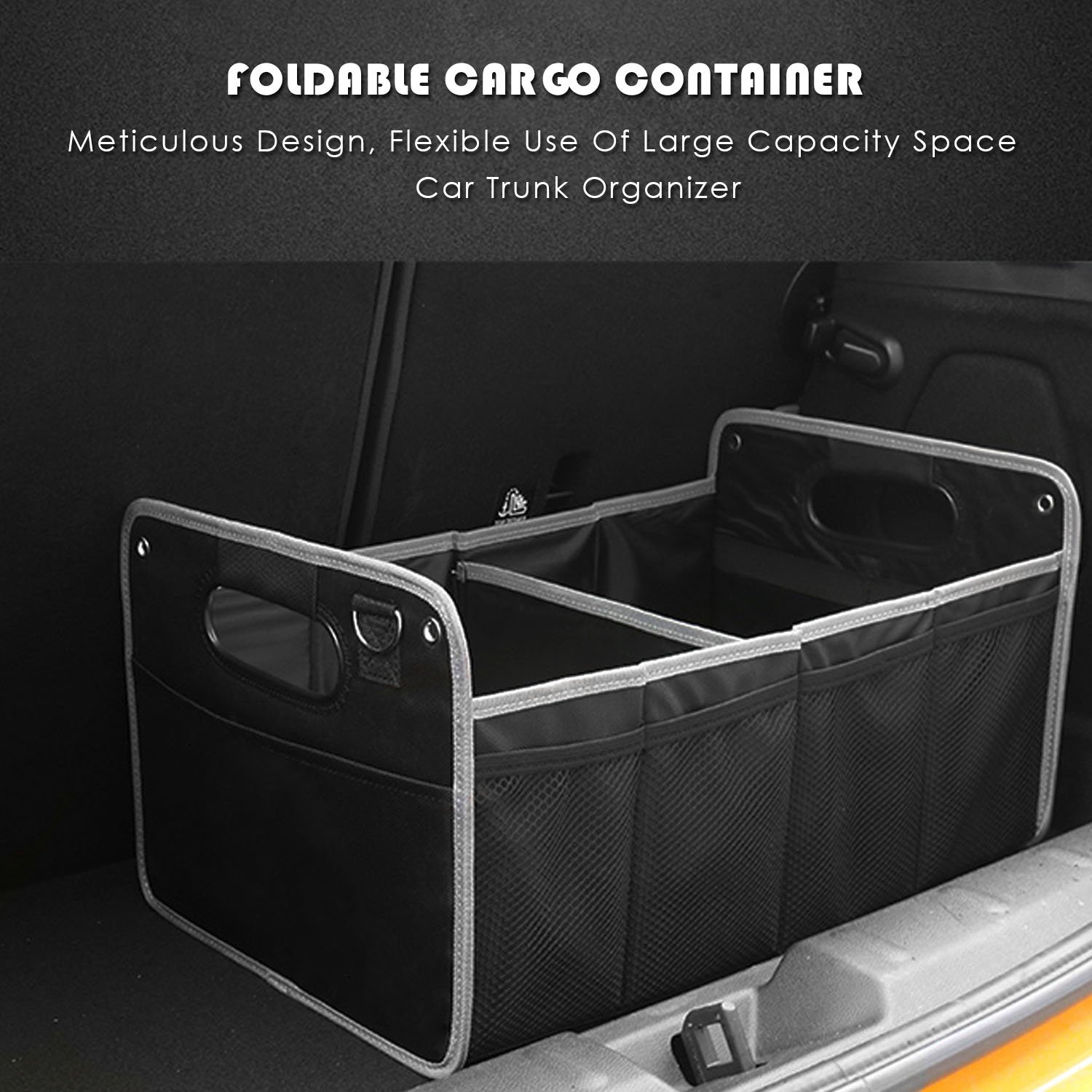 Carperipher Car Trunk Organizer Collapsible Foldable Durable Cargo Storage Box Folding Flat Waterproof with Anti-slip Strap For Auto CarExpres