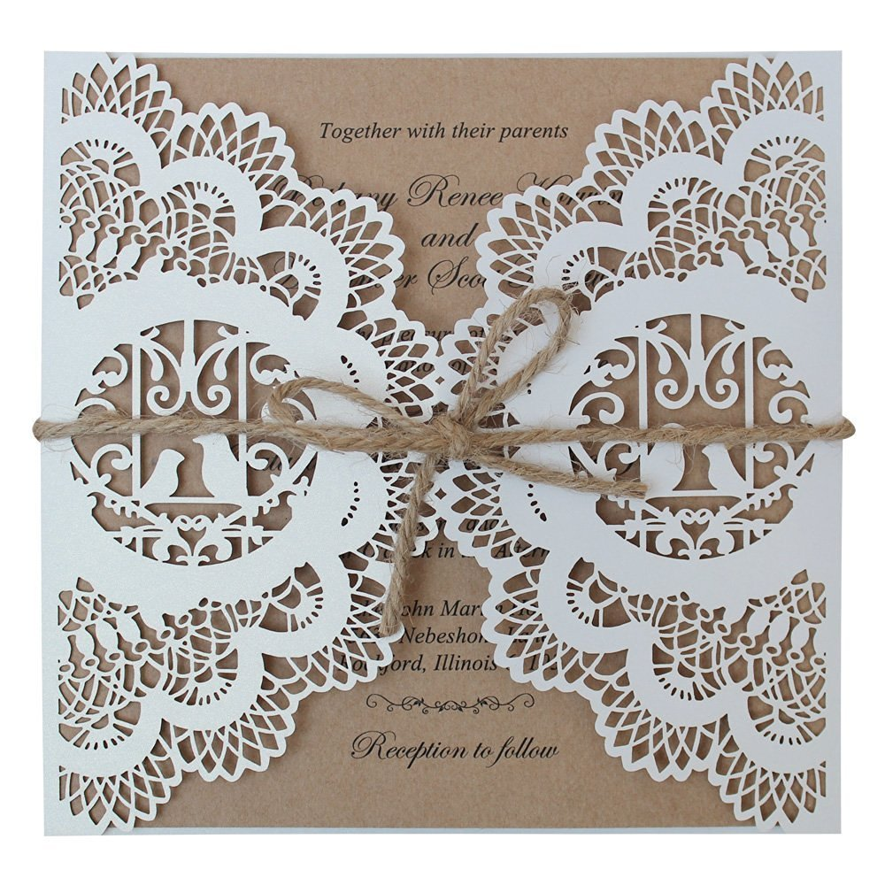 Vintage Wedding Invitation, Rustic Bridal Shower Invitation Printable, Lace Wedding Invitations - Set of 50 (Customized Invitation)