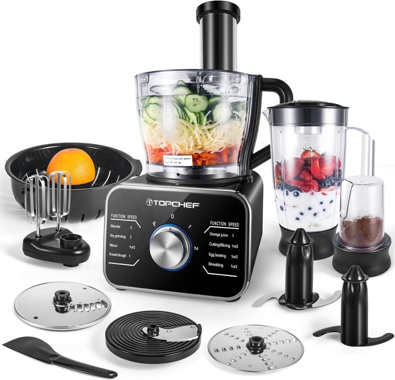 Procesador de alimentos Topchef 1100W Procesador de alimentos compacto (con accesorios incluidos: amasador, licuadora, exprimidor y molinillo de café), capacidad 3.5L, plateado/negro