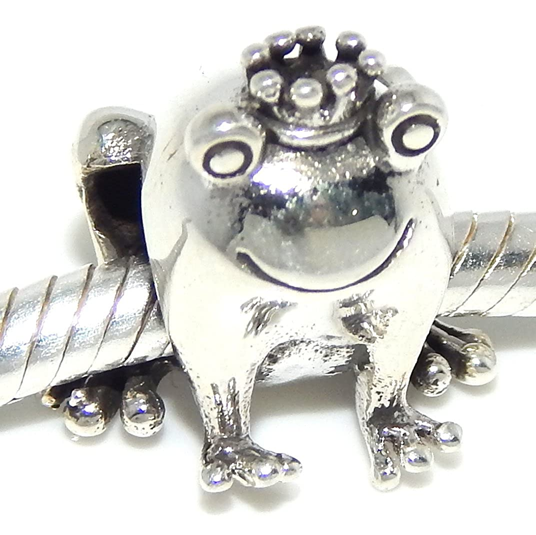 925 Sterling Silver Frog Prince Charm Bead