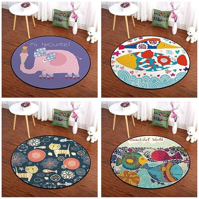 Adorable Animal Estampado habitación Infantil Alfombra Redondo ...