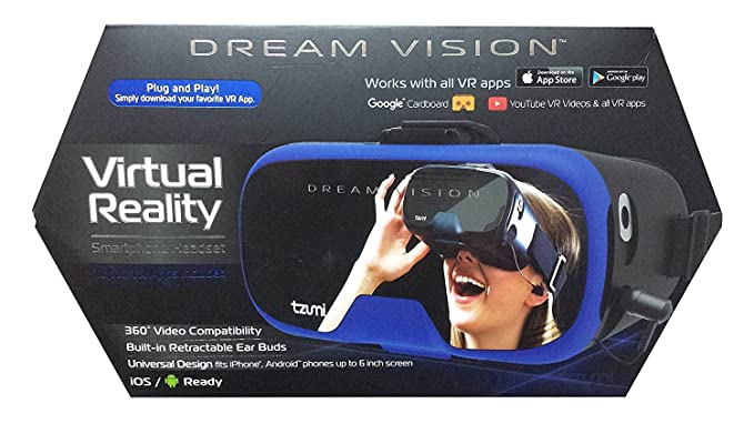 Tzumi Dream Vision Virtual Reality Smartphone Headset, Retracteable  Built-in Ear Buds,fits all phones up to 6 inch, 360 Video Capability,  Lightweight