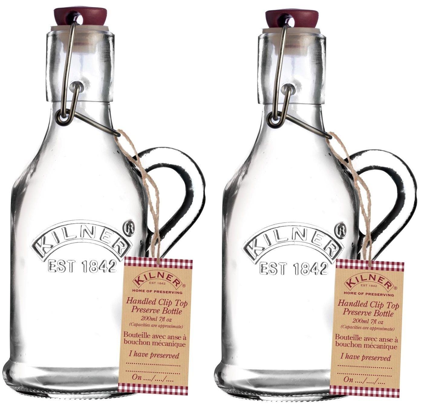 Kilner, cli`para botella, tapa superior, 200 ml, tapa hermética, para frascos de vidrio transparente para conservas y para botellas de agua., vidrio, ...