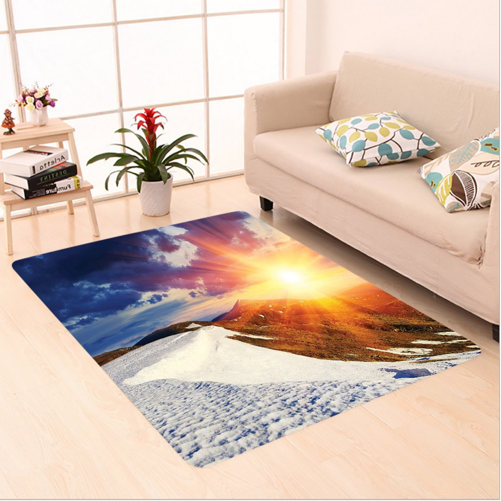 Nalahome Custom carpet nshine Clouds Nature Mountain and Valley Sun Divider in College Landscape Home White Blue Yellow area rugs for Living Dining Room Bedroom Hallway Office Carpet (6' X 9')
