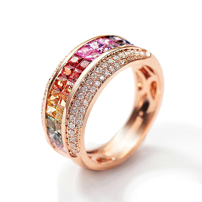 6c880eb5136c2 Amazon.com: Daesar Womens Rings 18K Rose Gold Wedding Band Princess ...