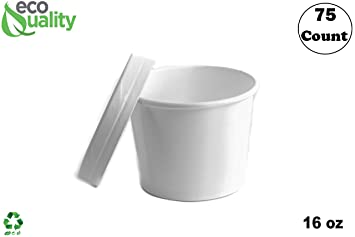 ad4c06494f78 Amazon.com: [75 Count] 16 oz Disposable White Paper Soup Containers ...