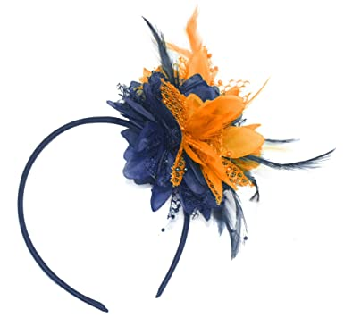 4131259be40a5 Navy Blue and Orange Fascinator on Headband for Ascot Weddings