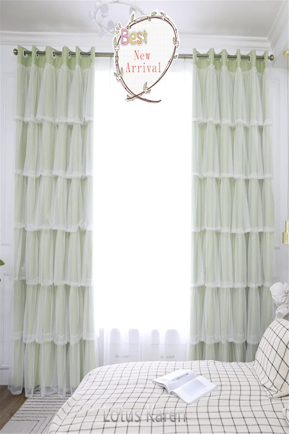 Lotus Karen Sweet Ruffle Curtains Romantic Green Princess Room Curtains For Girls Bedroom Tulle Grommet Blackout Curtain 2 Panels Set Amazon Co Uk Kitchen Home
