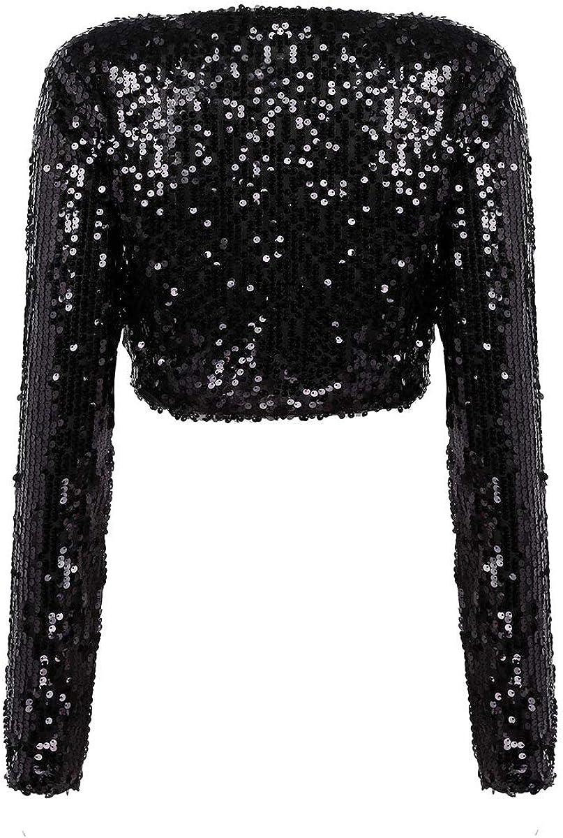 Radtengle Womens Sequin Shrug Long Sleeve Glitter Cape Cropped Bolero Blazer Cardigan