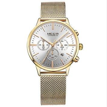 Megir Relojes de Lujo para Mujer Banda de Malla de Moda Reloj de Cuarzo Simple para Mujer Reloj cronógrafo,Gold: Amazon.es: Electrónica