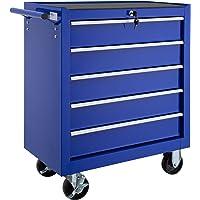 TecTake Carro de herramientas con 5 cajones | con cerradura | con ruedas - disponible en diferentes colores - (Azul | No…