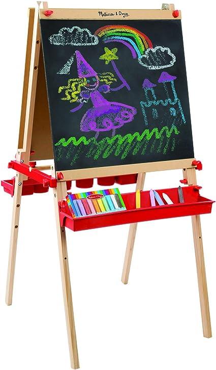 Melissa /& Doug Deluxe Magnetic Standing Art Easel With Chalkboard Dry-Erase Bo