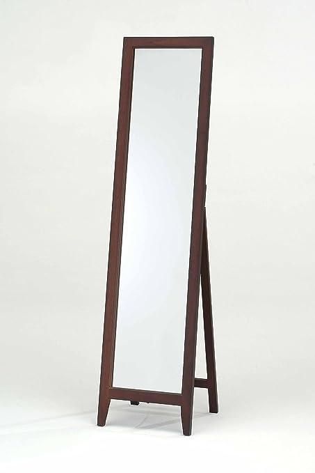 Amazon.com: Kings Brand Walnut Finish Solid Wood Frame Floor Mirror ...