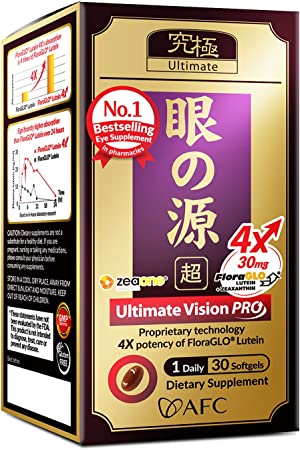 AFC Japan Ultimate Vision PRO - Eye Formula with FloraGLO Lutein 4X, Zeaxanthin, Bilberry Extract & Astaxanthin for Age-Related Eye Problem, Blurry & Poor Vision, Dry Eye, Macular Health, 30 Count