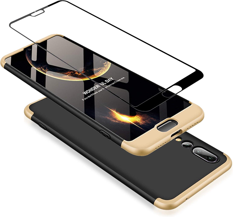 Protectora de pel/ícula de Vidrio Templado Oro Rosa Joytag Funda Huawei P20 Pro 360 Grados Oro Rosa Ultra Delgado Todo Incluido Caja del tel/éfono de la protecci/ón 3 en 1 PC Case
