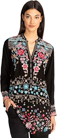 Johnny Was • Black Embroidered Rayon Long Sleeve Top • Mandarin with Tie