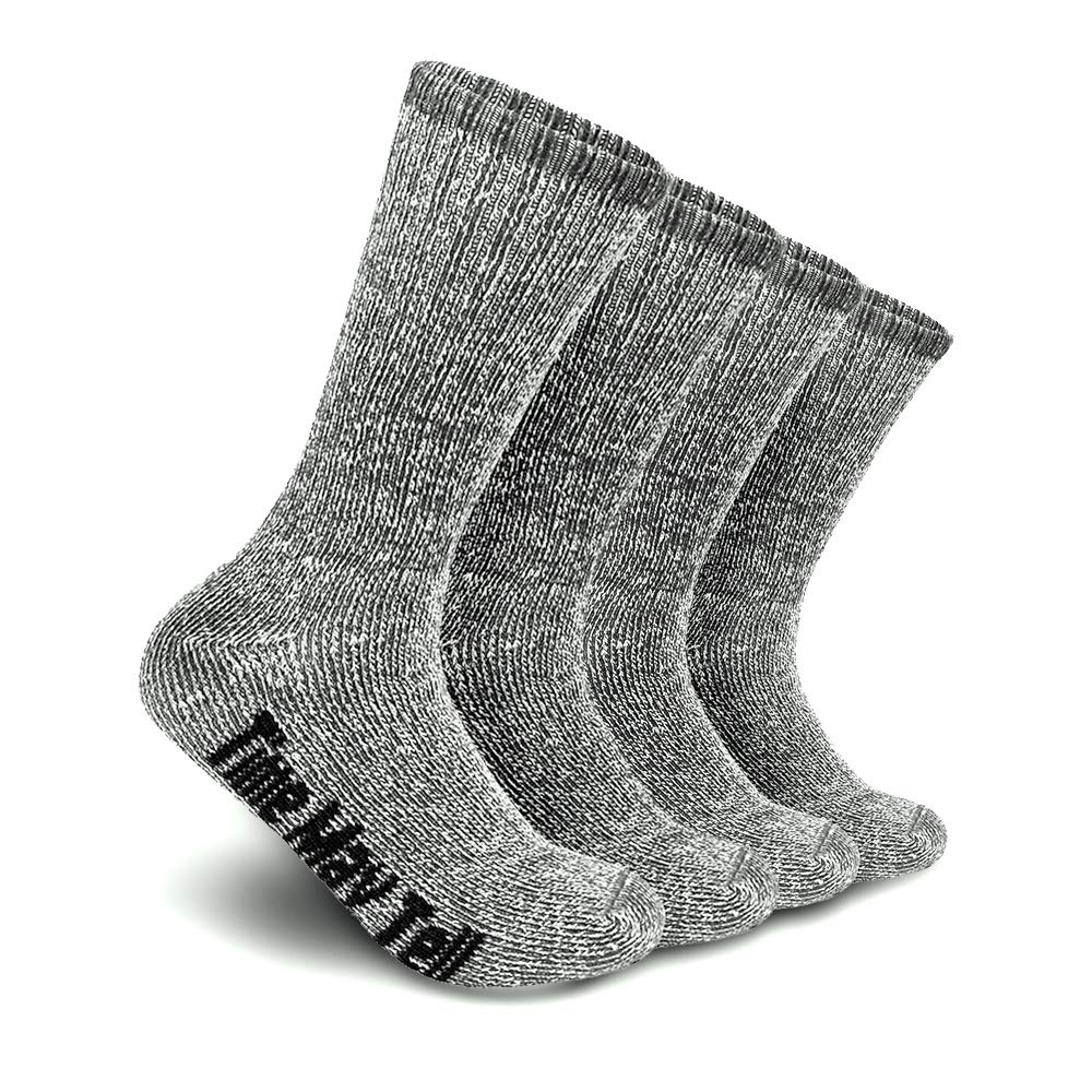 Time May Tell Mens Merino Wool Hiking Cushion Socks Pack (2/4 Pair,6-13 Size) (Dark Grey(2 pairs), US Size 9.5~13) by Time May Tell