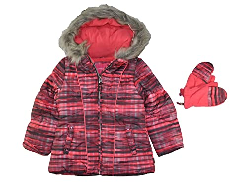 c84b969d6 Amazon.com  London Fog Girls  Hooded Puffer Jacket with Mittens ...