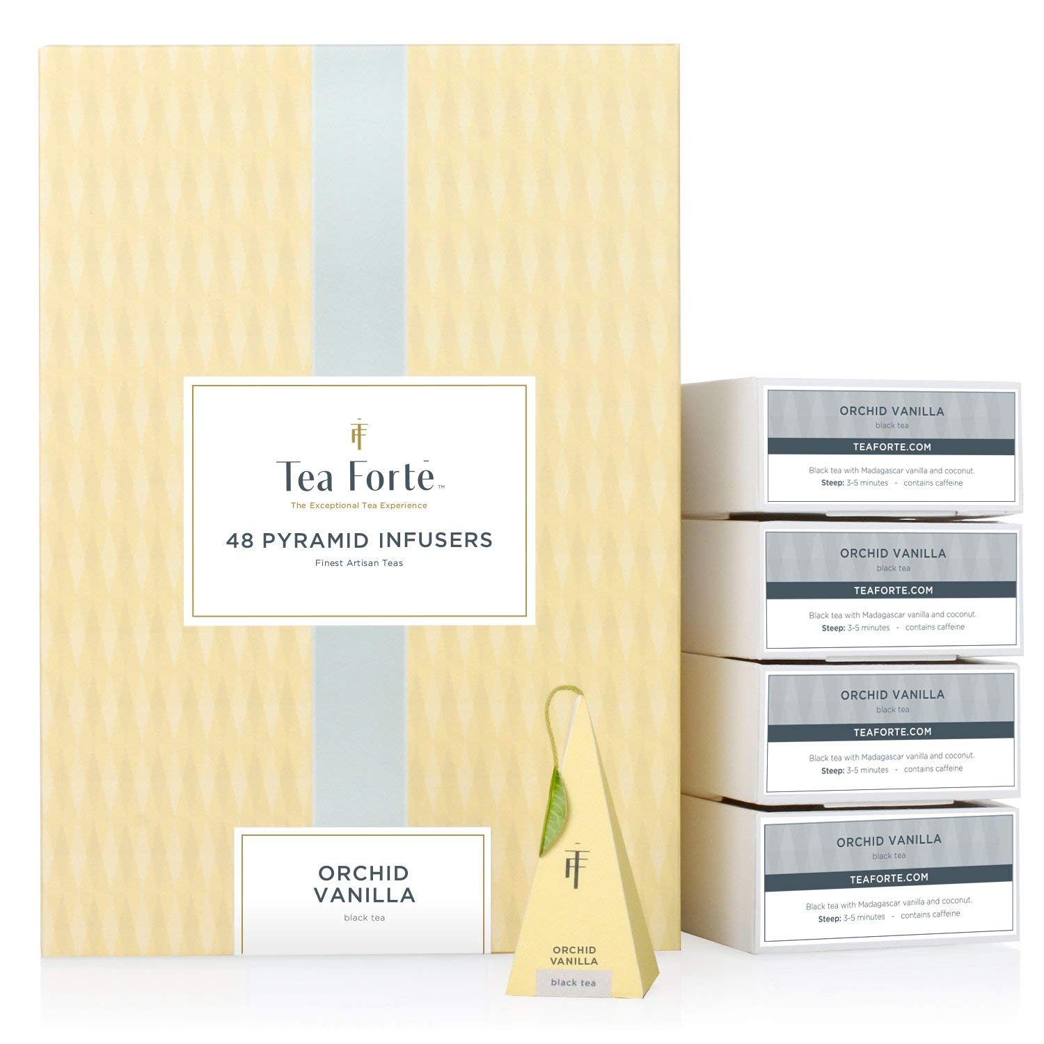 Tea Forte BULK PACK Orchid Vanilla Black Tea, 48 Handcrafted Pyramid Tea Infusers by Tea Forte