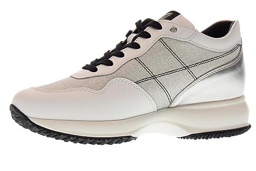 Hogan Scarpe Donna Sneakers Basse HXW00N0K010J180906 Interactive Taglia 36  Bianco Argento 71fa12376c8