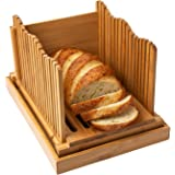 Bamboo Bread Slicer for Homemade Bread Loaf – Wooden Bread Cutting Board with Crumble Holder – Foldable and Compact Loaf…