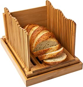 Comfify Bamboo Bread Slicer For Homemade Bread Loaf Wooden Bread Cutting Board With Crumble Holder Foldable And Compact Loaf Cutter Thin Or Thick Slices