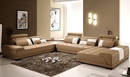 Amazon.com : Monte Contemporary Leather Taupe Sectional Sofa ...