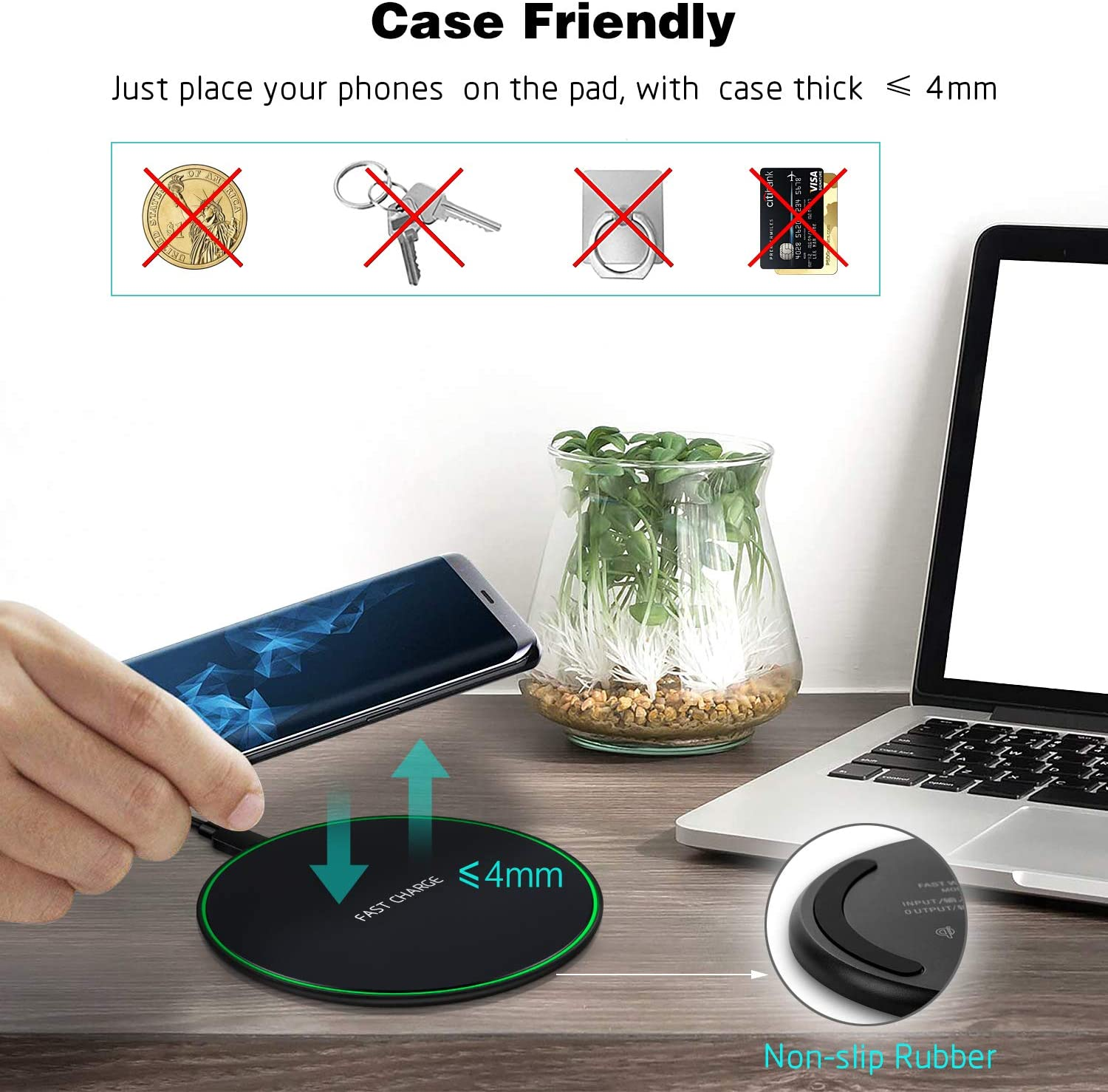 Qi Wireless Charger Aupek Wireless Charging Pad 7.5W Compatible with iPhone Xs MAX//XR//XS//X//8//8 Plus,10W with Galaxy S10//S10 Plus//S10E//S9//S9+//S8//Note 9 5W All Qi-Enabled Phones No AC Adapter -Black