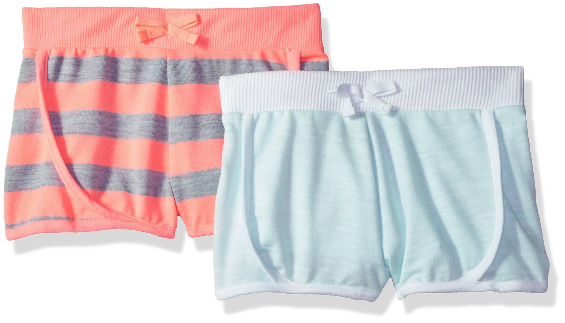 Limited Too Big Girls' 2 Pack Short, Neon Light Coral with Mint Multi Print, 7/8