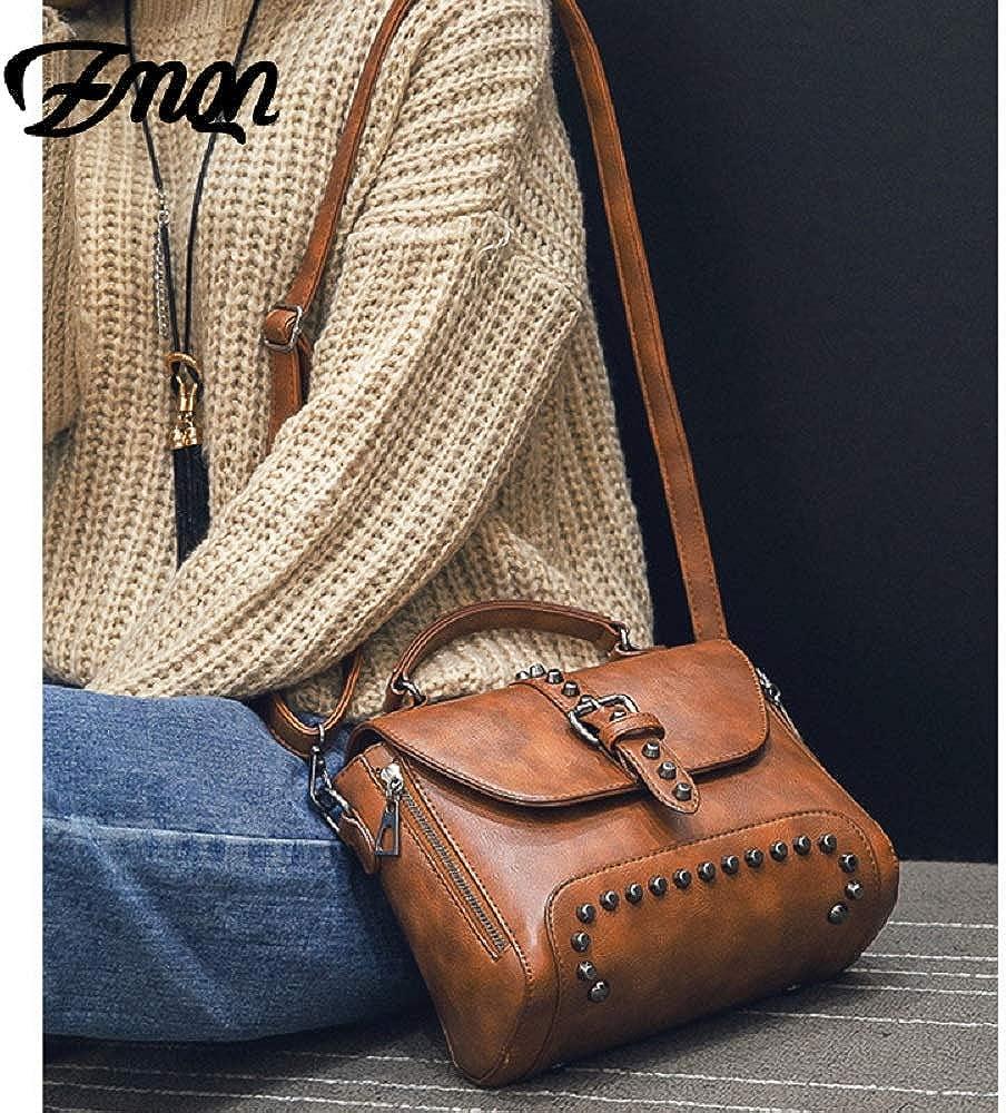 Black Crossbody Bags for Women Messenger Bags 2018 Vintage Leather Bags Handbags Women Rivet Small Shoulder Sac A522