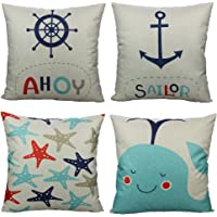 All Smiles Nordic Geometric Animals Throw Pillow Covers Case Decorative Outdoor Cushion Retro Home Decor 18X18 Set of 4 Cotton Linen for Couch Sofa Bed Room,Mountains,Deer,Reindeer,Bear …