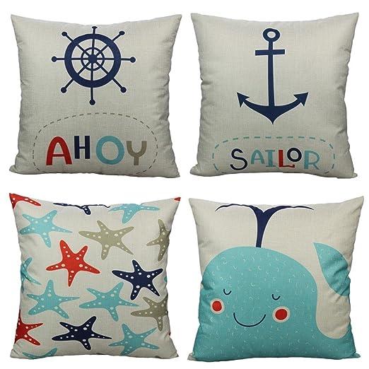 Como Mar Animal poliéster lino y algodón funda de almohada ...