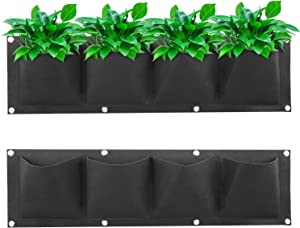 Phyxin Vertical Hanging Planter with 4 Pockets Large Felt Wall Mount Planter Outdoor Hanging Planter for Garden Porch Hanging Planters for Herb Plants Flowers Home Decoration Plants Growing Bags