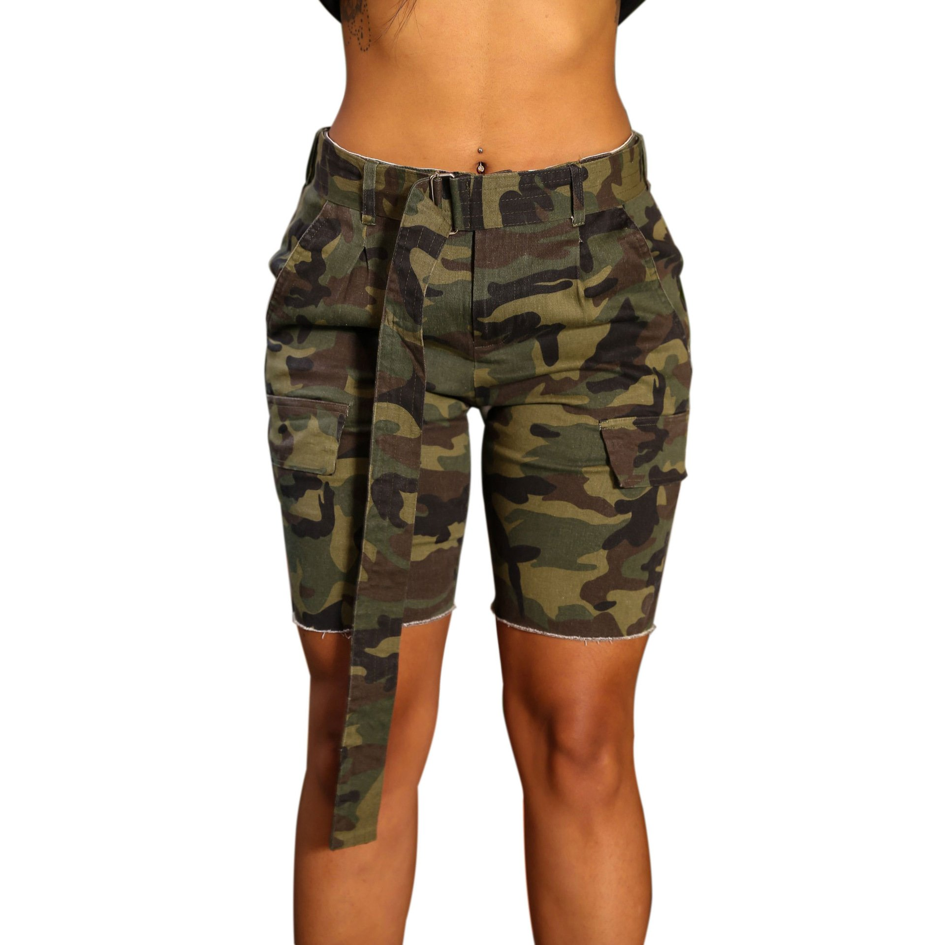 PINLI Camouflage Womens Denim Shorts Sexy Casual Summer Stretch Plus Size high Waisted Beach Jeans Shorts Capri (Camo L)
