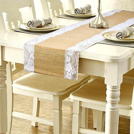 camino de mesa de encaje tela de yute de arpillera de yute natural ...
