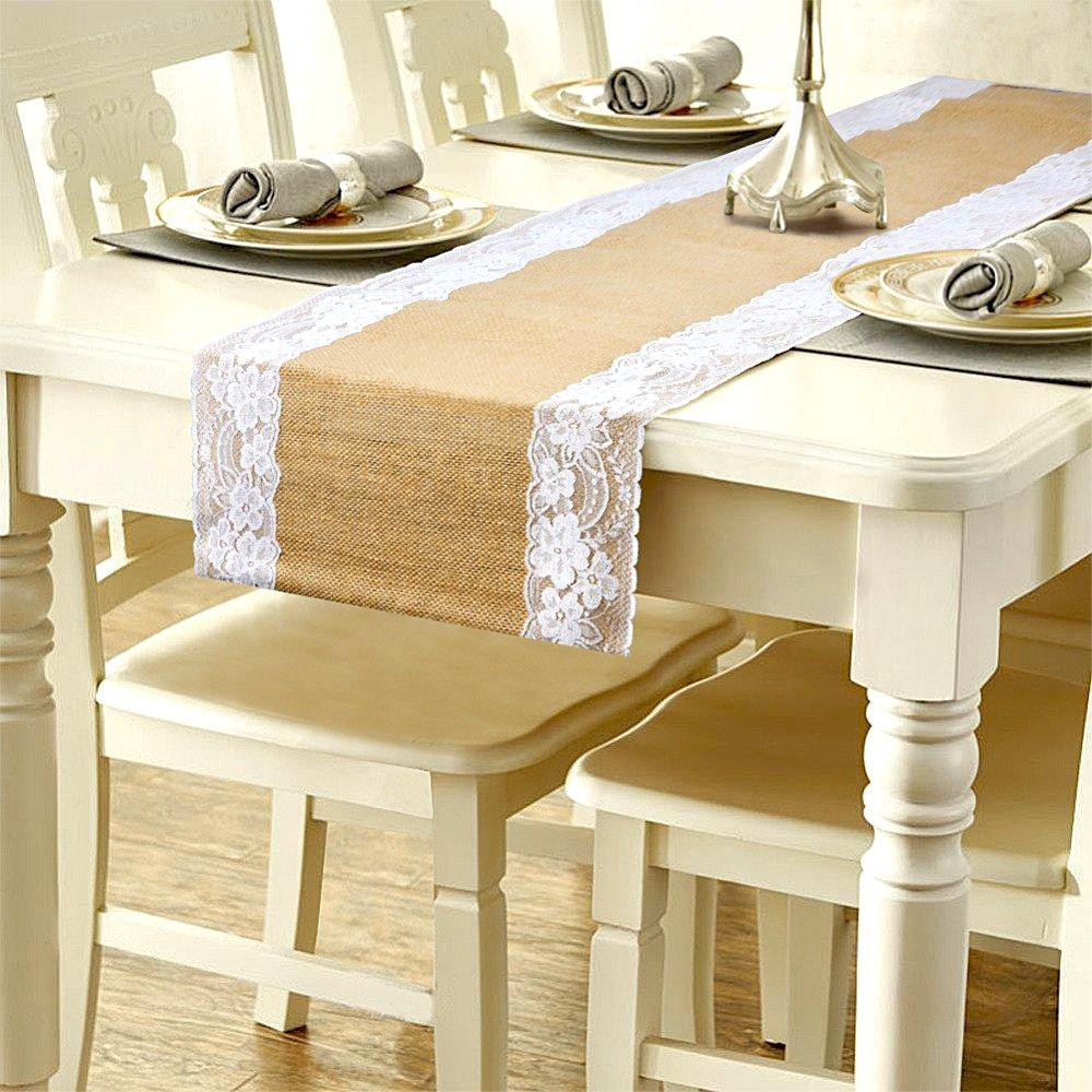 solesu camino de mesa, camino de mesa de encaje tela de yute de arpillera de yute natural rústico boda decoración para tapicería de arpillera yute al aire libre fiesta decoración de Navidad 275* 30cm, Blanco, 1 pieza SOEKAVIA