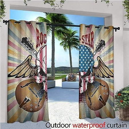 Homehot - Cortina de privacidad para guitarra al aire libre, para pérgola y guitarra eléctrica, estilo a mano, sobre fondo blanco, rock musical, arte, arte de bocetos, aislante, repelente al agua, para