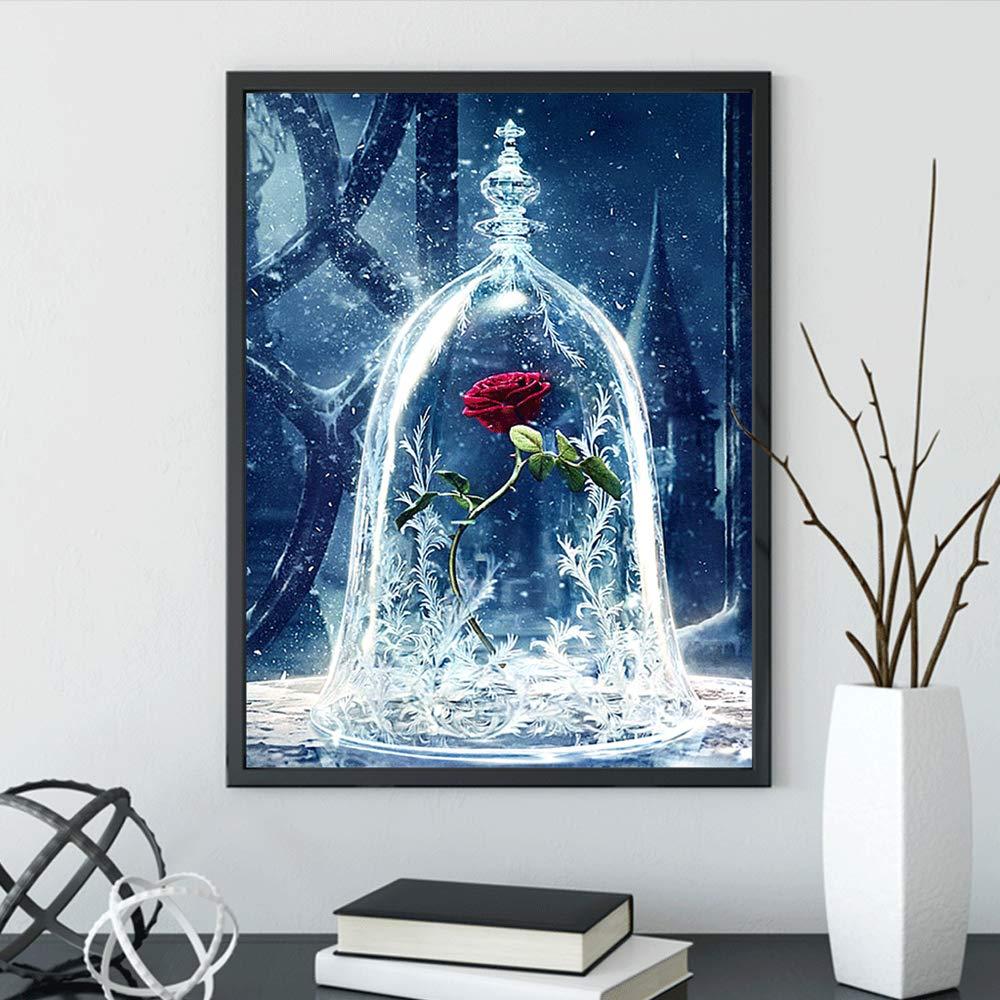Peinture diamant 5d complet,broderie diamant kit complet plein Point de Croix La belle et la B/ête Artisanal sur Tissu en Toile id/éal pour la d/écoration /à la Maison//Salon//Chambre//Bureau 35x45cm
